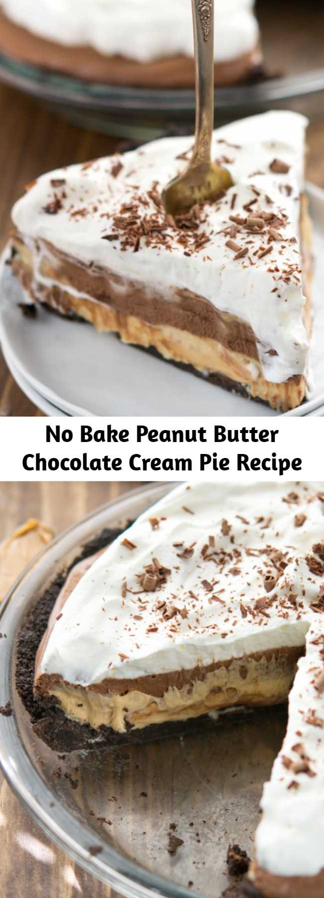 No Bake Peanut Butter Chocolate Cream Pie Recipe - Layers of Oreo crust, peanut butter, and chocolate cream pair perfectly for the best pie I've ever eaten! The best part is it's totally no bake and egg-free! I just can't even express how good it was. Words like decadent, amazing, creamy, and delicious just don't seem to suffice. Because it was better than all of those words.