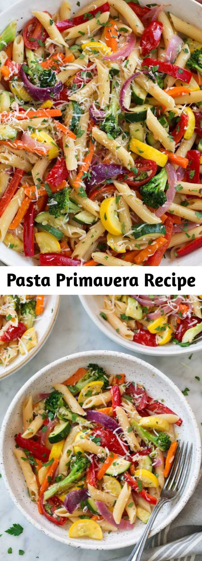 Pasta Primavera Recipe - This hearty, veggie packed pasta dish isn't just for spring and summer, this is a packed pasta dish that's perfect year round! It has such a satisfying flavor and it's versatile recipe so you can add different kinds of vegetables you might already have on hand. #pasta #primavera #dinner #recipe