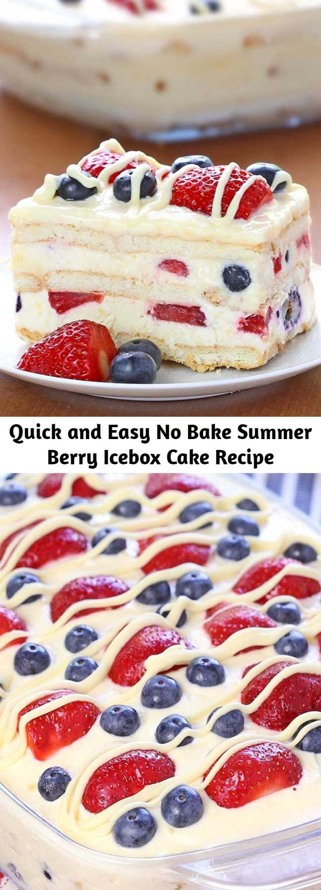 Quick and Easy No Bake Summer Berry Icebox Cake Recipe - Looking for a quick and easy Summer dessert recipe? Try out delicious No Bake Summer Berry Icebox Cake! There's very little preparation involved in this recipe, which makes it great for hot summer days or for crazy busy days. You can throw it together whenever you have time (even the day before is fine) and it will be ready and waiting for you in the refrigerator when you want a sweet treat!