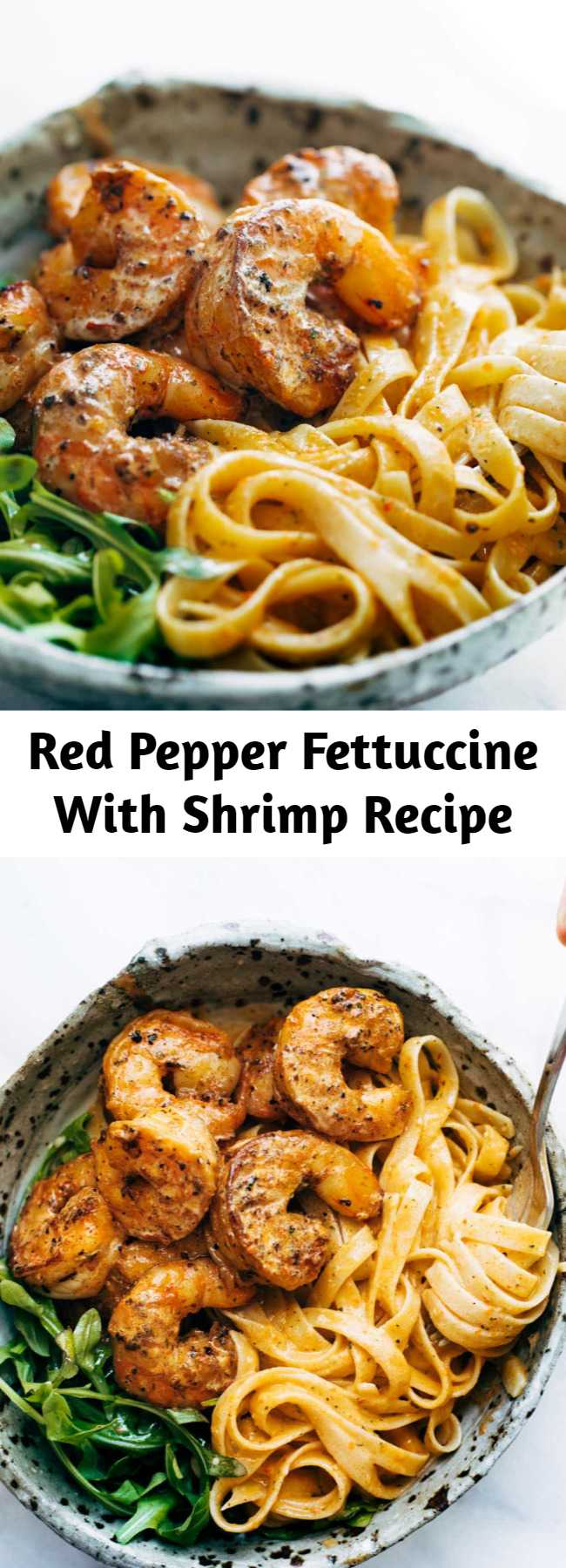 Red Pepper Fettuccine With Shrimp Recipe - Red Pepper Fettuccine with Shrimp! It's got quick, pan-fried shrimp, creamy noodles, and red pepper / garlic / butter / lemon-ish sauce vibes. Perfect quick and easy dinner!