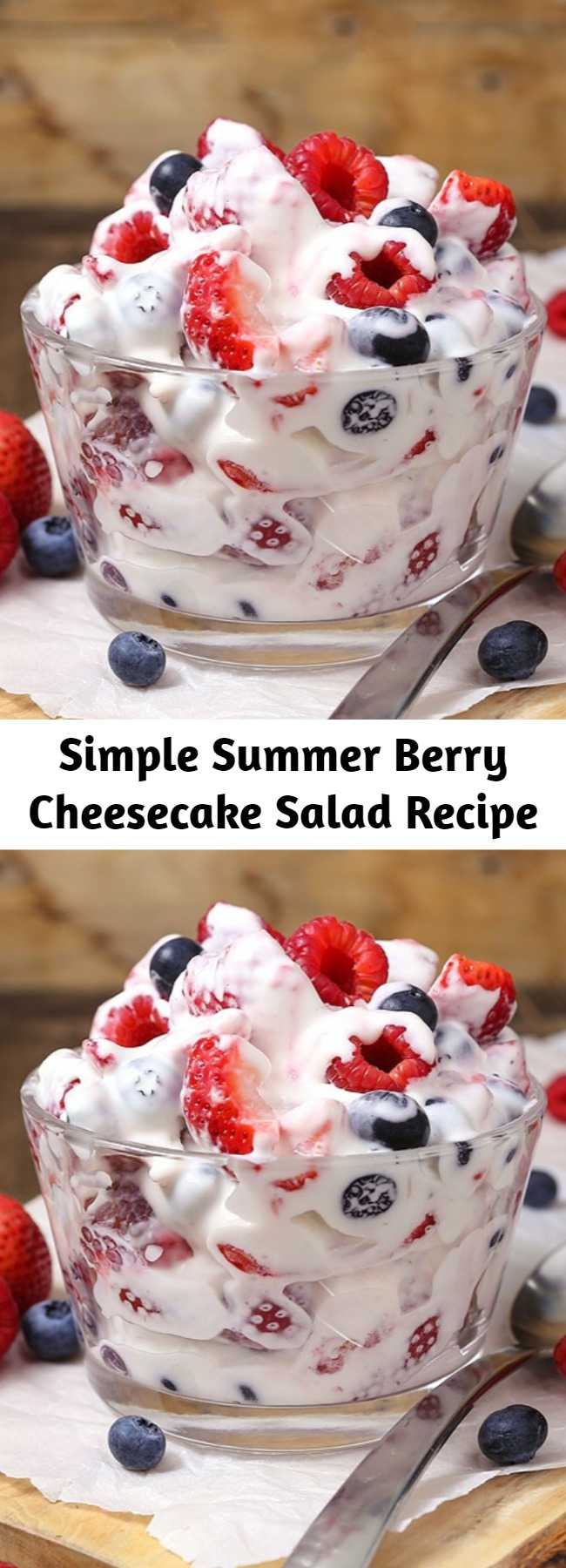 Simple Summer Berry Cheesecake Salad Recipe - This simple Summer Berry Cheesecake Salad recipe comes together with just 5 ingredients. Rich and creamy cheesecake filling is folded into your favorite berries to create the most amazing fruit salad ever! Your family will go nuts over it. #cheesecakesalad #summersidedish