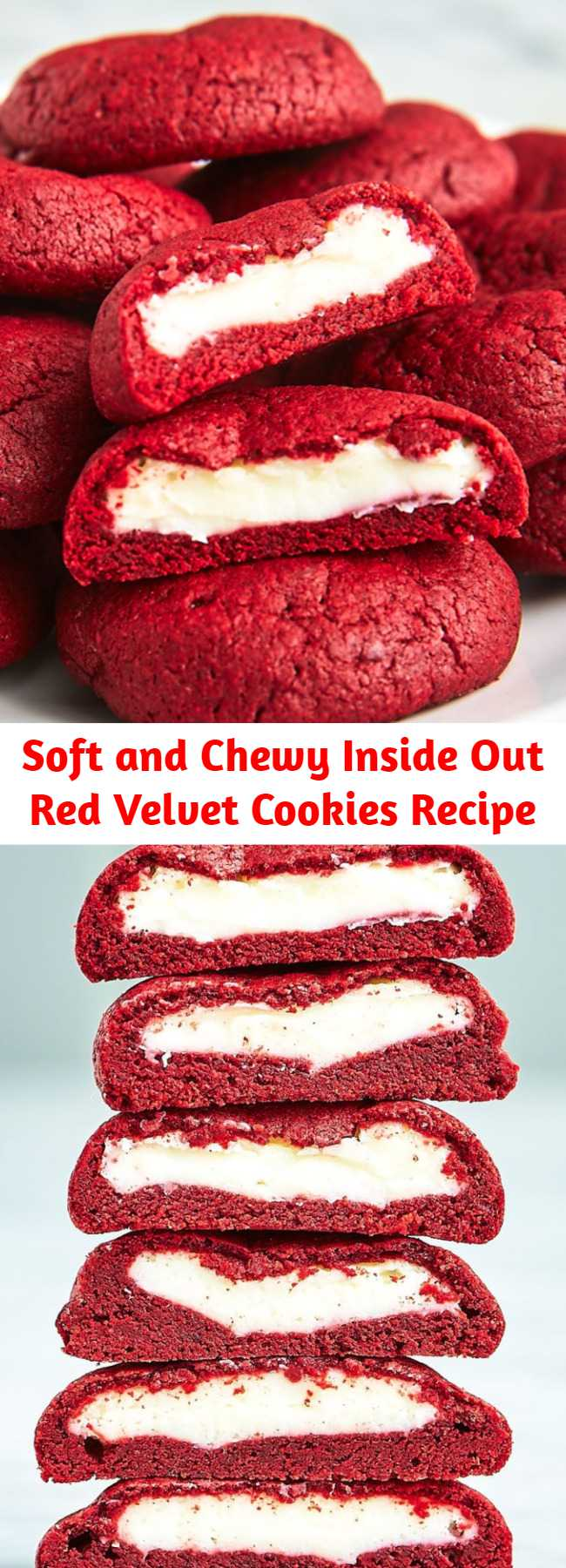 Soft and Chewy Inside Out Red Velvet Cookies Recipe - Get your Red Velvet Cake (frosting and all) in cookie form!  These irresistibly soft and chewy red velvet cookies stuffed with real deal cream cheese frosting, are pretty amazing!