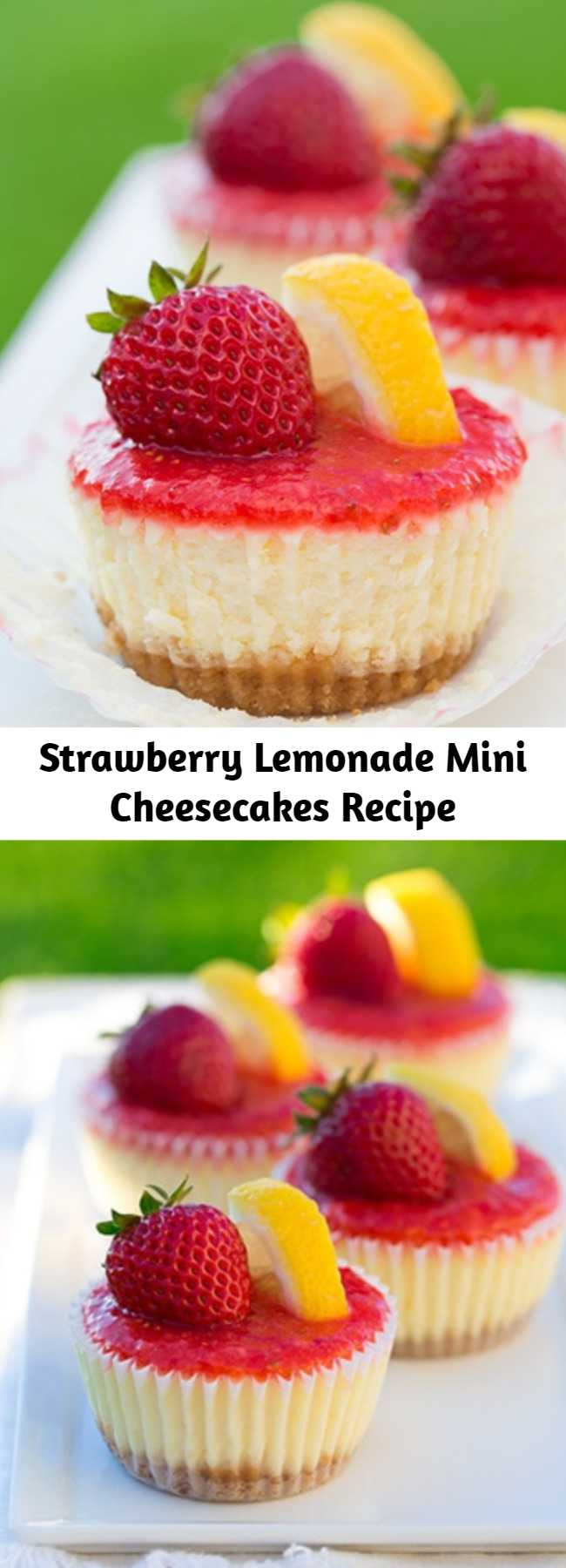 Strawberry Lemonade Mini Cheesecakes Recipe - Individual cheesecakes with the same irresistible refreshing flavor as a glass of strawberry lemonade.