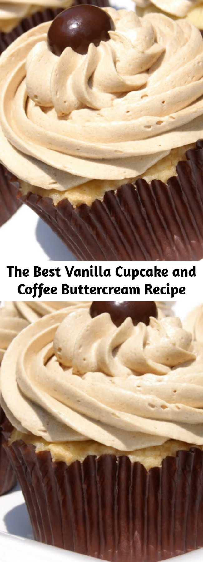 The Best Vanilla Cupcake and Coffee Buttercream Recipe - Fluffy & delicious ~ These are truly the BEST vanilla cupcakes with the BEST coffee buttercream frosting. A double sweet treat, for sure!
