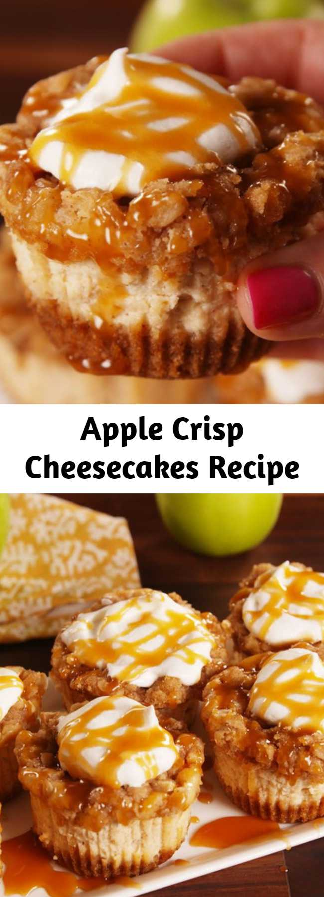 Apple Crisp Cheesecakes Recipe - To have cheesecake faster try these Mini Apple Cheesecakes. You won't be able to eat just one.
