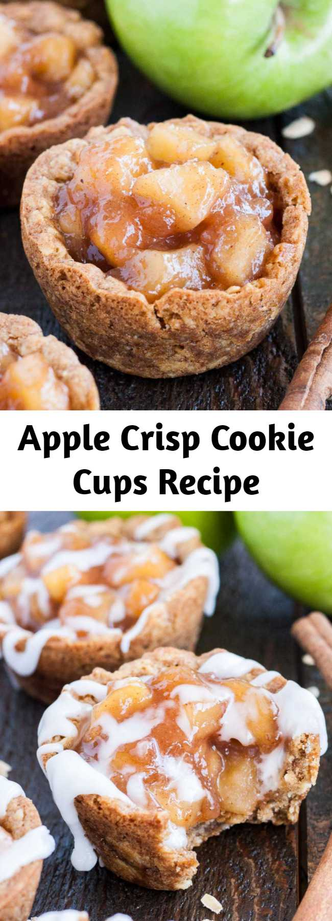 Apple Crisp Cookie Cups Recipe - These Apple Crisp Cookie Cups combine classic oatmeal cookies with homemade apple pie filling for the perfect comfort food.