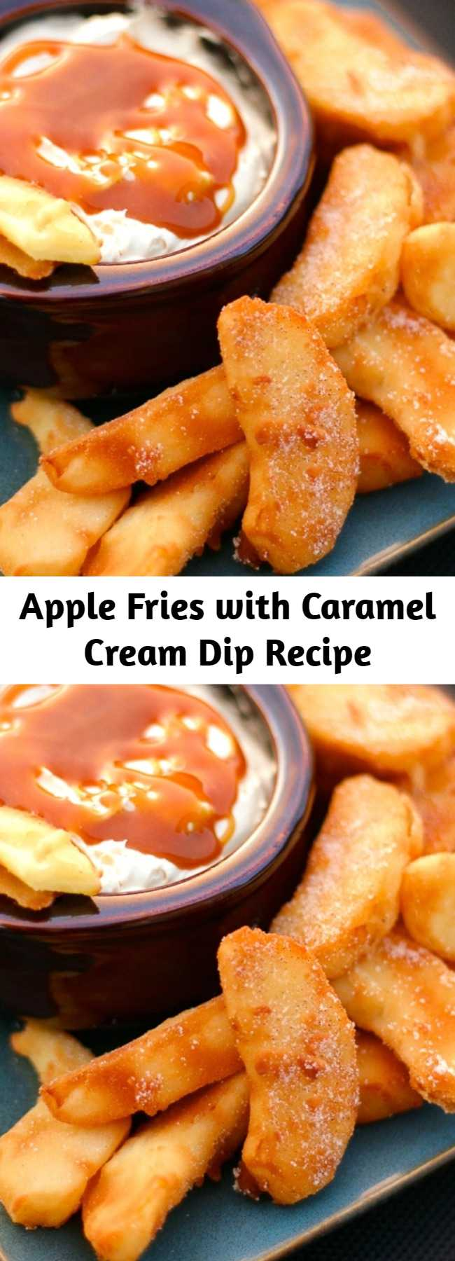 Apple Fries with Caramel Cream Dip Recipe - These Apple Fries with Caramel Cream Dip are the perfect warm dessert for a crisp fall evening. It made our house smell like apple pie. Crisp apple wedges are lightly battered and fried in a pan, then sprinkled with a cinnamon-sugar mix. What really sets these fried apples apart is the dipping sauce. You'll love this creamy, caramel-infused dip.
