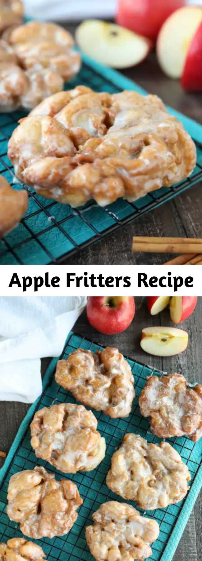 Apple Fritters Recipe - an easy and delicious yeast doughnut with chunks of apples, ground cinnamon, and a sweet glaze.