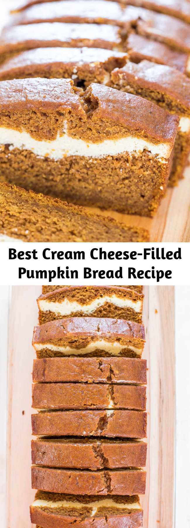 Best Cream Cheese-Filled Pumpkin Bread Recipe - This is without a doubt the BEST pumpkin bread recipe! This pumpkin cream cheese bread tastes like it has cheesecake baked into the middle. You'll definitely want a second slice! #pumpkindesserts #pumpkinrecipes