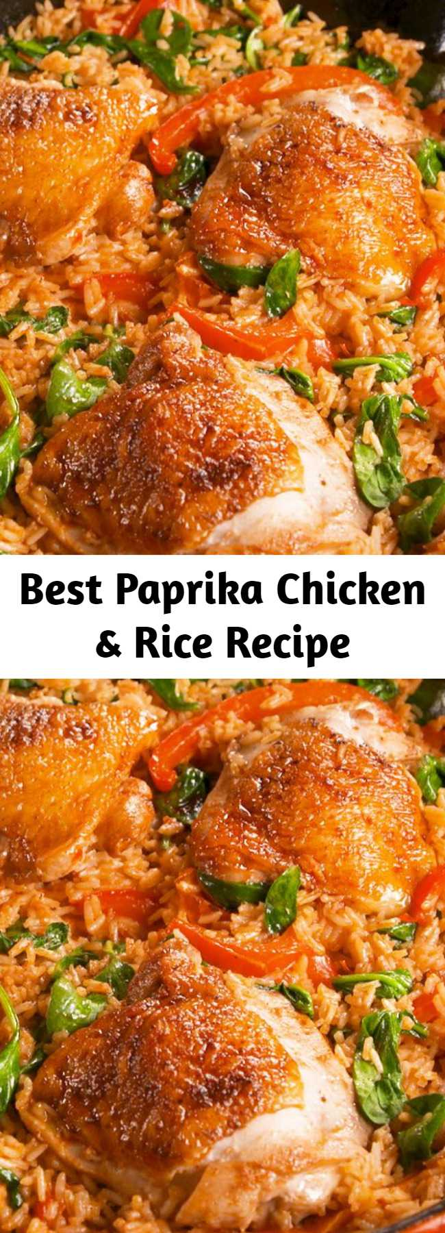 Best Paprika Chicken & Rice Recipe - Weeknight dinner all-star. #food #easyrecipe #dinner #familydinner #chicken