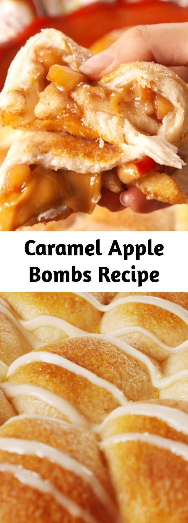 Caramel Apple Bombs Recipe - The best way to get your caramel apple fix. #easy #recipe #caramel #apple #fall #homemade #dessert #stuffed #fallrecipe #food #easyrecipe #apples