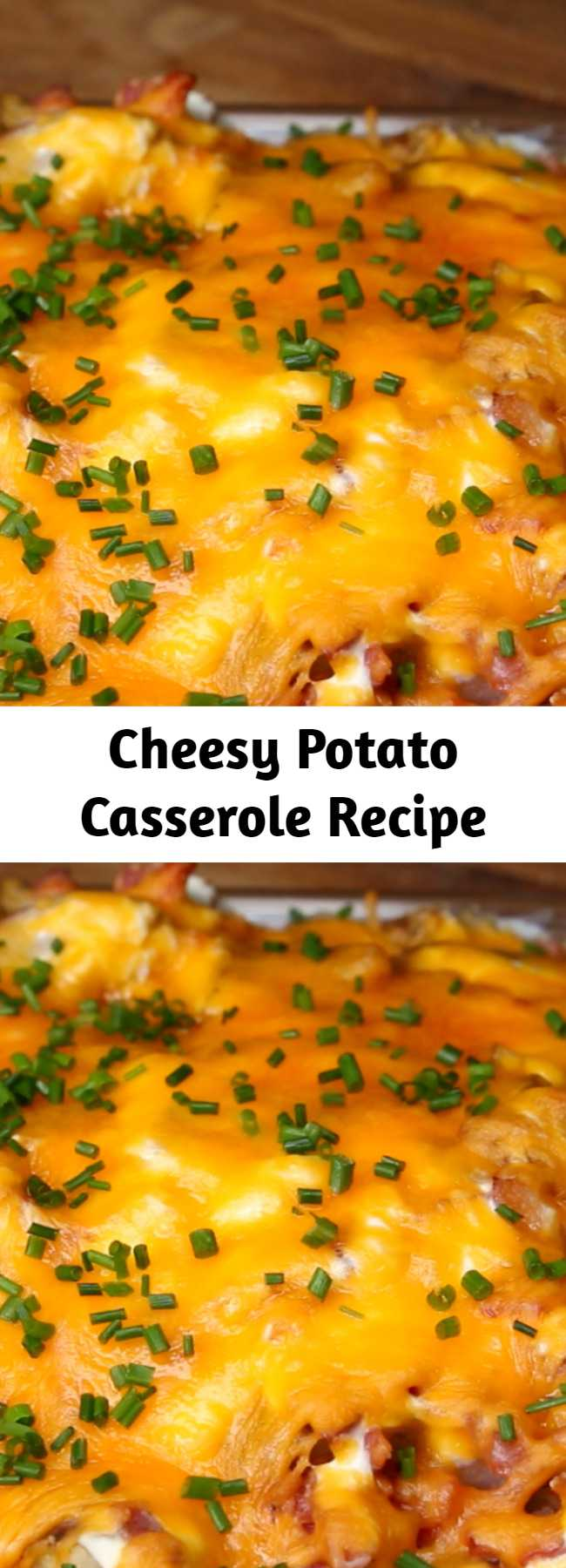 Cheesy Potato Casserole Recipe - This cheesy potato casserole is the perfect way to feed a family of picky eaters. With all of the components of beloved loaded potato skins (like bacon, sour cream, and cheese), it's practically impossible for anyone to dislike this casserole. It's make-ahead friendly, filling, and easily made vegetarian by omitting the bacon. If you're looking for the ultimate weeknight casserole, this is your recipe.