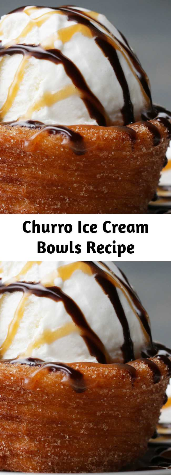 Churro Ice Cream Bowls Recipe - Add a lot of cooking spray to the pan! Also make sure the churro dough is completely frozen! This was so good! Try it with horchata ice cream 🍨😋