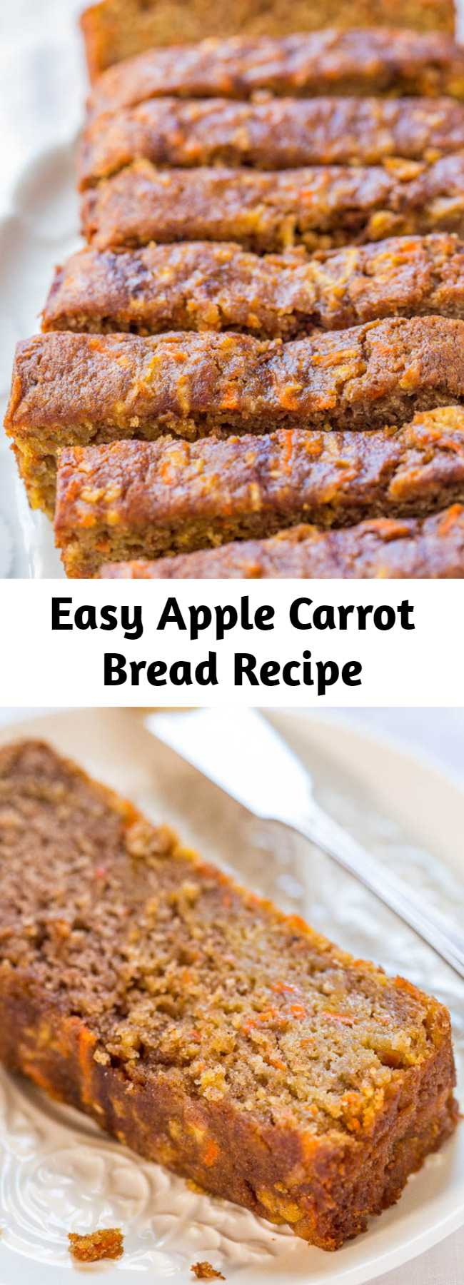 Easy Apple Carrot Bread Recipe - This apple carrot bread tastes like carrot cake that's been infused with apples. It's a no mixer recipe that goes from bowl to oven in minutes!
