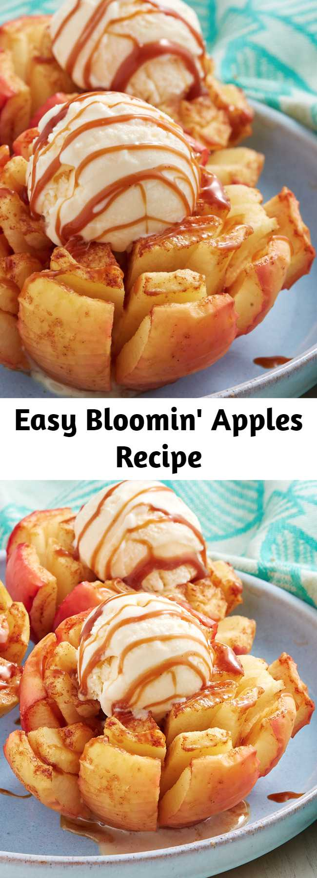 Easy Bloomin' Apples Recipe - We took inspo from the ever popular bloomin' onion and made a just as fun dessert. Though these finished bloomin' apples look insane, they're actually quite easy to make. Because apples can turn brown really quickly, you'll want to brush them with butter and get them in the oven pretty quickly after slicing them. If you want to take your time, squeeze lemon juice all over the cut side to prevent browning. These are also so fun to make in the air fryer!