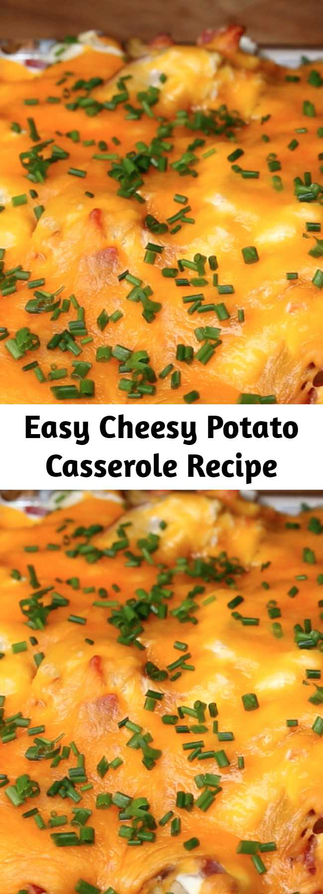 Easy Cheesy Potato Casserole Recipe - This cheesy potato casserole is the perfect way to feed a family of picky eaters. With all of the components of beloved loaded potato skins (like bacon, sour cream, and cheese), it's practically impossible for anyone to dislike this casserole. It's make-ahead friendly, filling, and easily made vegetarian by omitting the bacon. If you're looking for the ultimate weeknight casserole, this is your recipe.