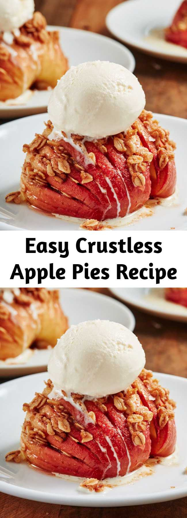 Easy Crustless Apple Pies Recipe - Hasselback apples are the easy fall dessert idea you need to try ASAP. It's a low-carb recipe that doesn't taste like it. The best part: You don't need to deal with rolling out and chilling pie dough. #easyrecipes #easydessert #healthydessert #lowcarbdessert #applerecipes #dessert #applepie #healthyapple