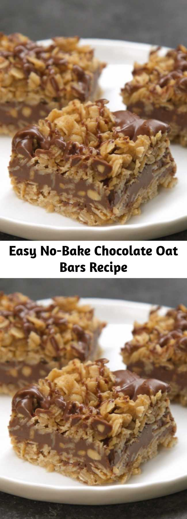 Easy No-Bake Chocolate Oat Bars Recipe - Yum! Delicious, easy, and no need to turn on the oven. Plus, if you want to make a whole bunch of bars ahead of time, you can totally freeze them, too! Just make sure you bring them back to room temperature before enjoying.