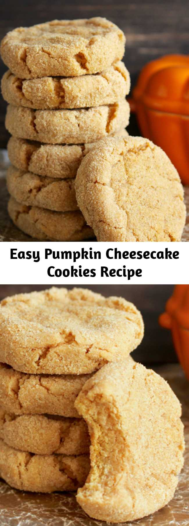 Easy Pumpkin Cheesecake Cookies Recipe - These Pumpkin Cheesecake Cookies are quick to make and will please any pumpkin lover. A soft creamy center with a graham cracker coating- these are the perfect treat!