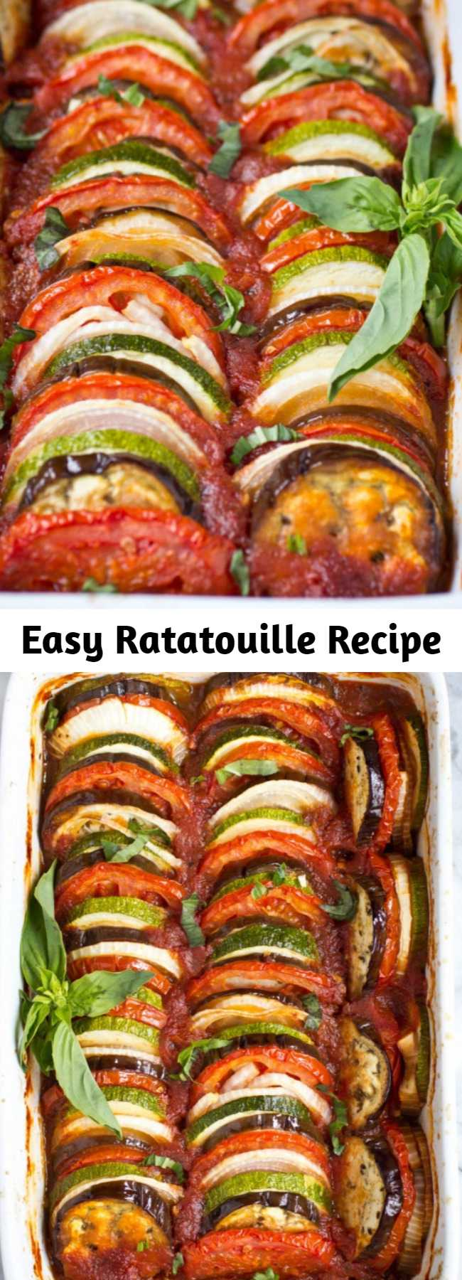 Easy Ratatouille Recipe - This Ratatouille recipe comes together quickly for a fresh weeknight dinner. Plus, it's suitable for gluten free, paleo and vegan diets! It's a light & fresh dish. Plus, it freezes well – so go ahead and make a double batch! #ratatouille #glutenfreesavory #paleomeals #whole30dinner #whole30sidedish #ketodinnerrecipe #vegetarianeasyrecipes