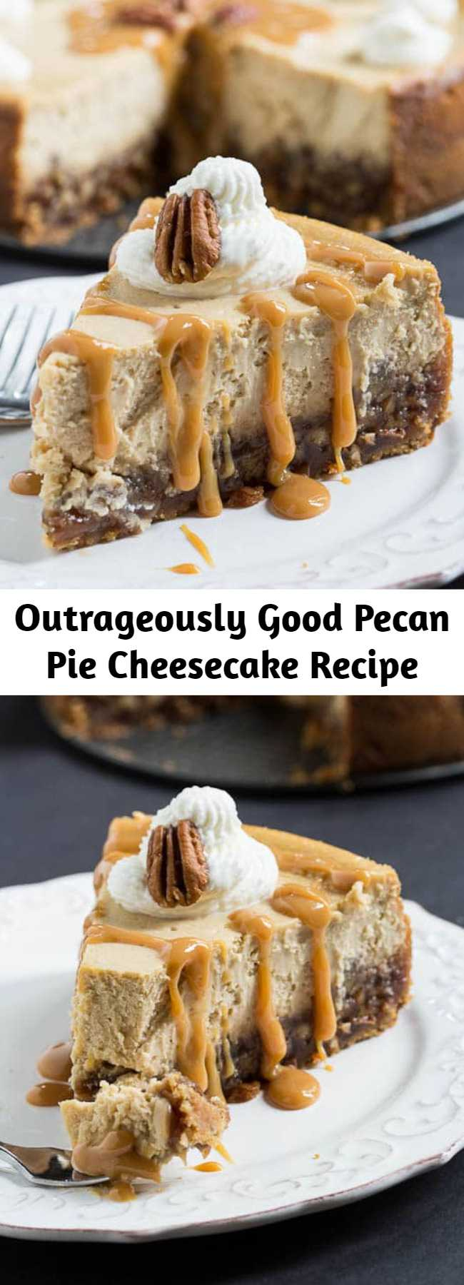 Outrageously Good Pecan Pie Cheesecake Recipe - Cheesecake and Pecan Pie together in one dessert. A truly decadent dessert with a layer of pecan pie in a vanilla wafer crust, topped by a creamy cheesecake. How could anything be better?