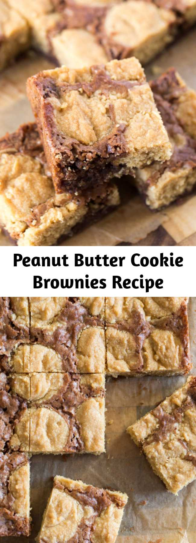 Peanut Butter Cookie Brownies Recipe - An easy homemade brownie batter studded with globs of peanut butter cookie dough for a chocolate peanut butter lovers dream come true. These little squares did NOT last long my friends.