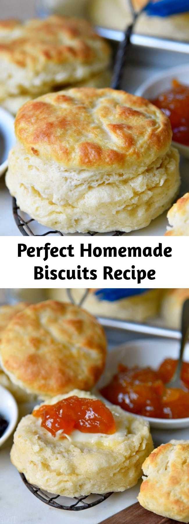 Perfect Homemade Biscuits Recipe - The BEST Homemade Biscuit recipe you'll ever try! These easy, homemade biscuits are soft, fluffy, made completely from scratch and can be on your table in about 15 minutes! A weekend staple in our house! #biscuit #biscuits #homemade #fromscratch #breakfast #brunch #recipe #recipes #baking