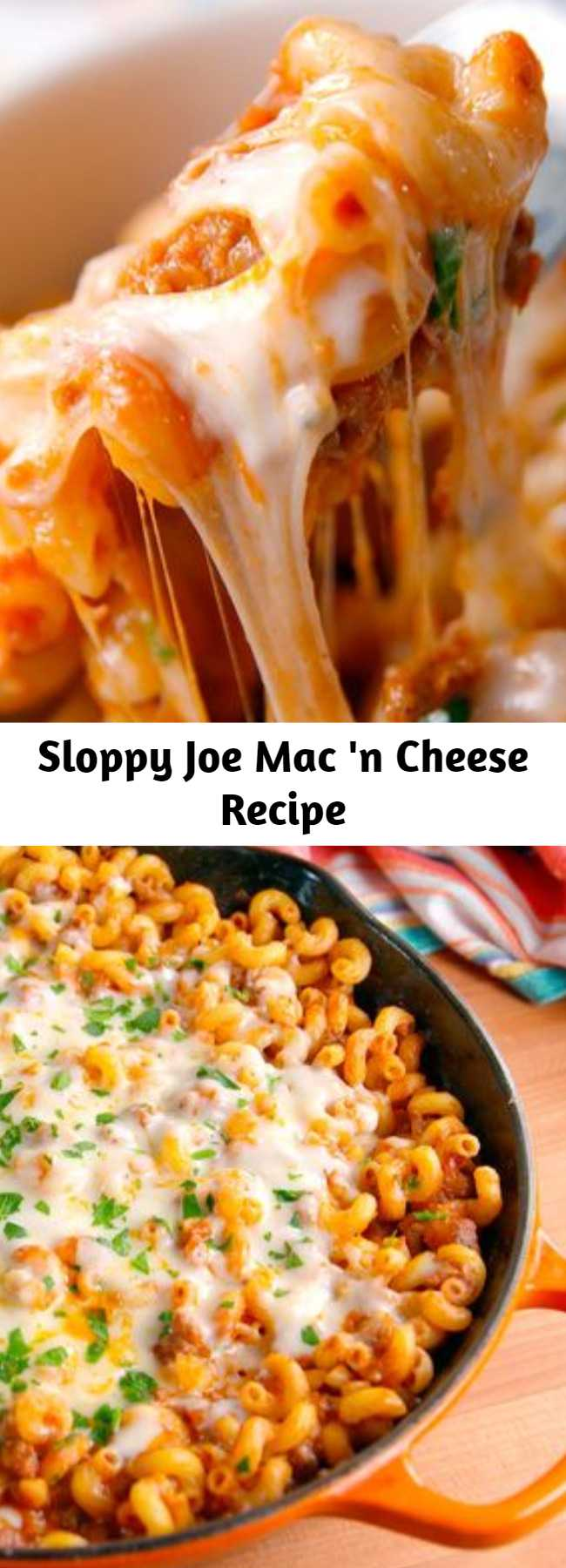 Sloppy Joe Mac 'n Cheese Recipe - Bolognese is too high-brow for a busy weeknight, you need sloppy joe mac n cheese. #pasta #easyrecipes #macandcheese #dinnerideas #recipe #easy #sloppyjoe #casserole