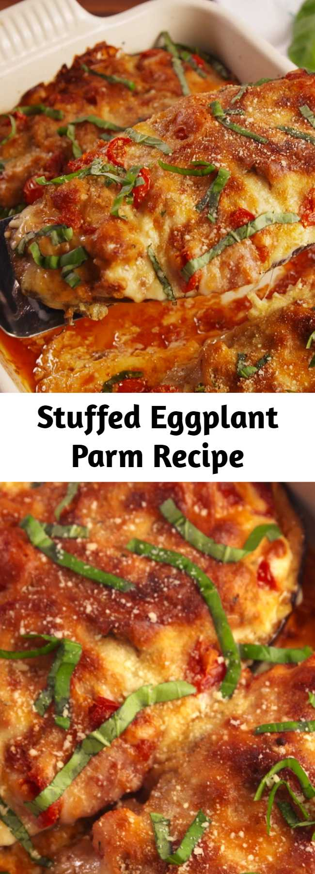 Stuffed Eggplant Parm Recipe - Stuffed Eggplant Parm is the low-carb dinner that will make you actually want to eat vegetables. You won't miss the pasta.