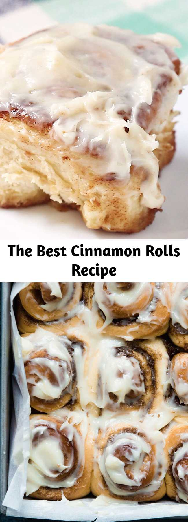 The Best Cinnamon Rolls Recipe - The BEST cinnamon rolls in the WORLD. Big, fluffy, soft and absolutely delicious. You'll never go back to any other recipe once you try this one! This cinnamon roll recipe includes options to make them overnight or ahead of time and even freeze them.