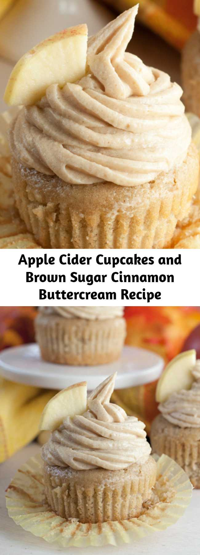 Apple Cider Cupcakes and Brown Sugar Cinnamon Buttercream Recipe - Moist and flavorful recipe for Apple Cider Cupcakes made from scratch with Brown Sugar Cinnamon Buttercream Frosting makes for a mouthwatering fall dessert!