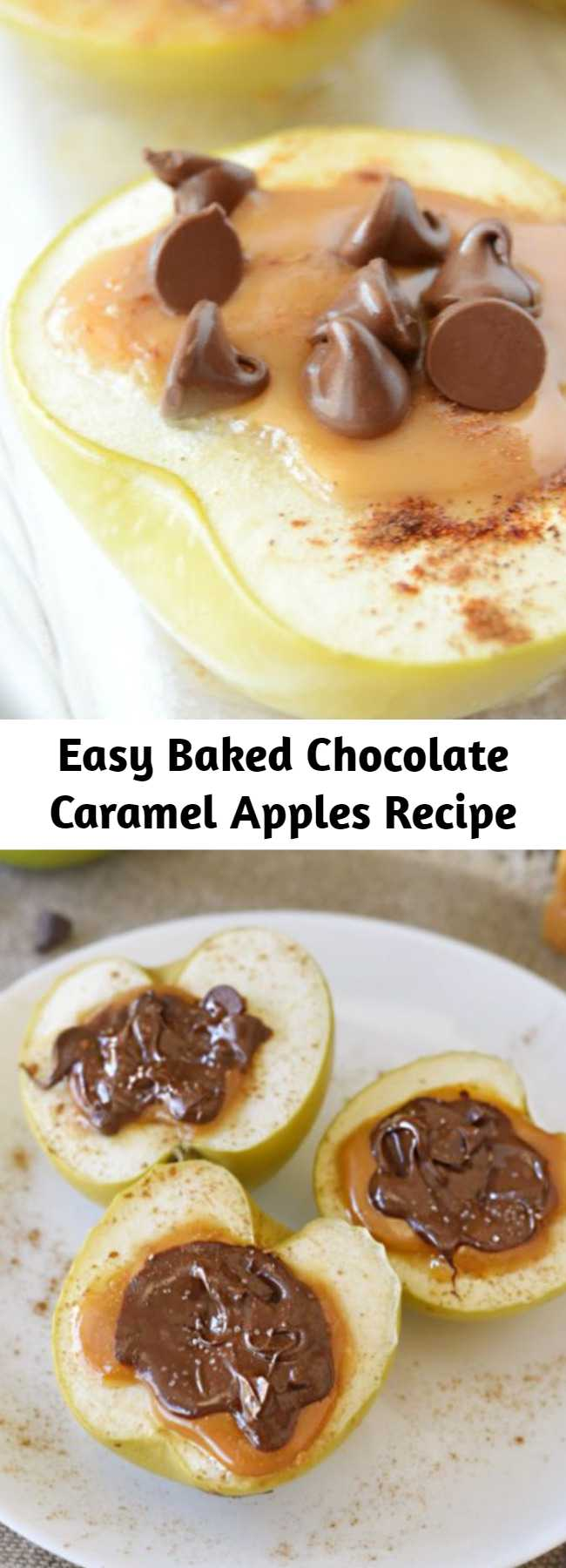 Easy Baked Chocolate Caramel Apples Recipe - Baked Chocolate Caramel Apples are baked apples stuffed with caramel and topped with chocolate and sea salt. An easy fall dessert recipe!
