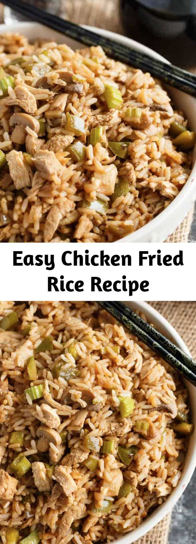 Easy Chicken Fried Rice Recipe - Skip takeout and make homemade Chicken Fried Rice! Tender rice that is loaded with veggies, spices, and, of course, pieces of chicken in every bite. A must-make rice recipe. This is a recipe that the entire family would enjoy AND it's easy (and inexpensive) to make. You can make it last for an extra day or two with leftovers!