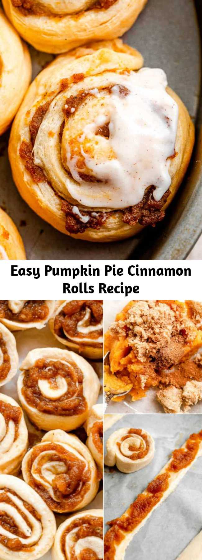 Easy Pumpkin Pie Cinnamon Rolls Recipe - These Pumpkin Pie Cinnamon Rolls are prepared with a tasty pumpkin filling and an incredible pumpkin pie spice cream cheese frosting! They're easy to make in just 30 minutes with refrigerated crescent dough.