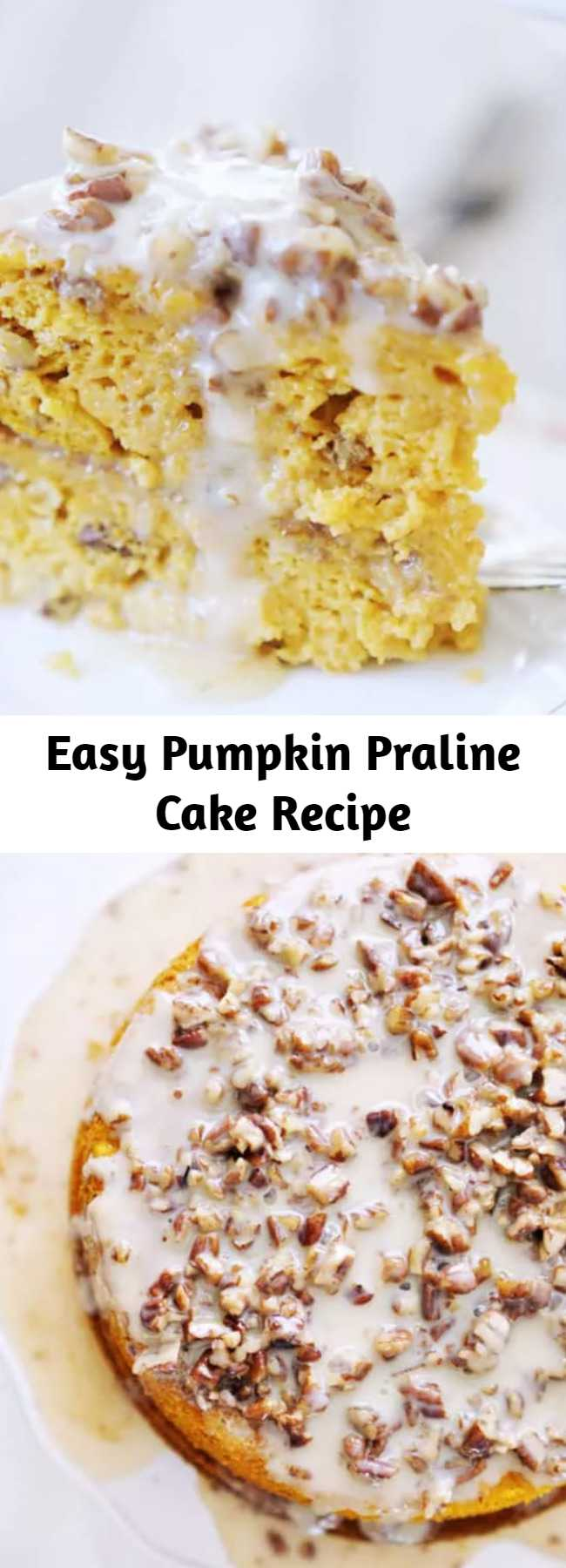 Easy Pumpkin Praline Cake Recipe - The most indulgent icing on the planet poured over a heavenly, moist, decadent and flavor packed Pumpkin Praline Cake. The EASIEST pumpkin cake recipe EVER!
