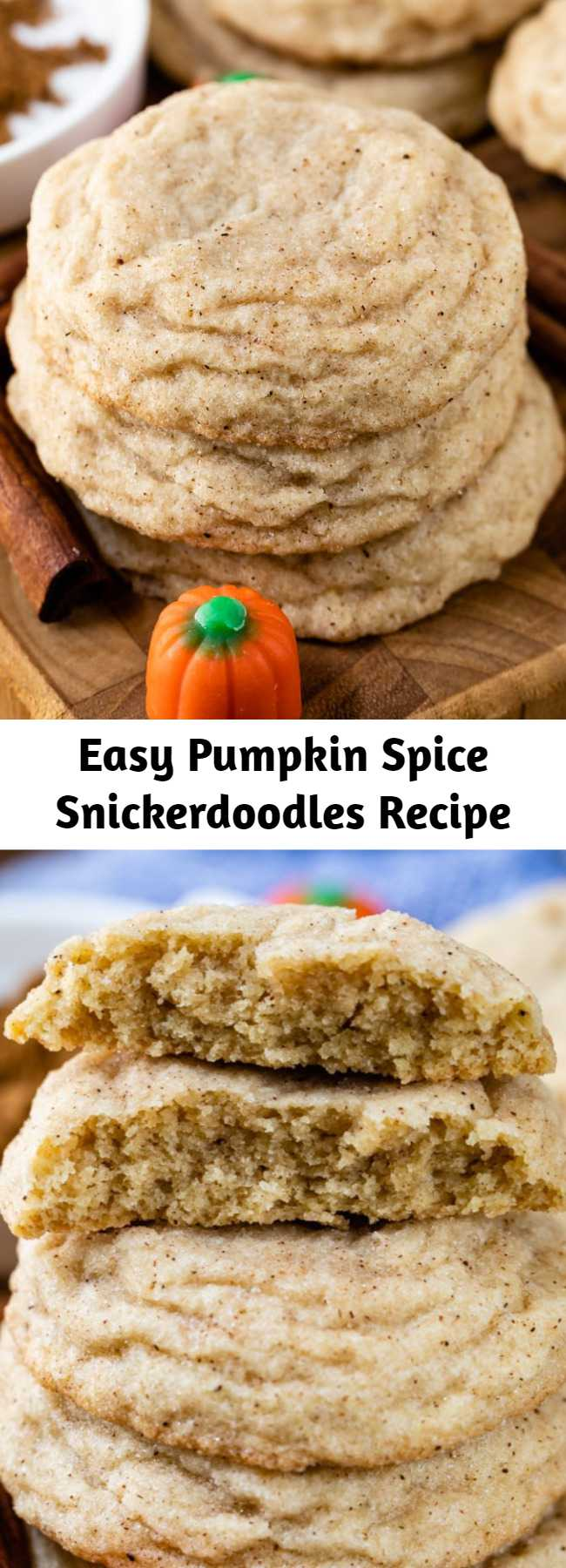 Easy Pumpkin Spice Snickerdoodles Recipe - We love this easy cookie recipe! Make snickerdoodles with pumpkin pie spice! Pumpkin Spice Snickerdoodles are the best fall cookie recipe!