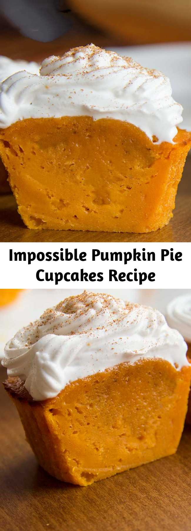 Impossible Pumpkin Pie Cupcakes Recipe - Impossible Perfect Fall treat! De-lic-ious Pumpkin Pie Cupcakes. They taste just like pumpkin pie filling, but are sturdy enough to eat with your hands. You'll love these because they're not overly sweet, and they're pumpkin-y without being overpowering, plus the batter is crazy easy to make too. #recipes #pumpkin #cupcakes