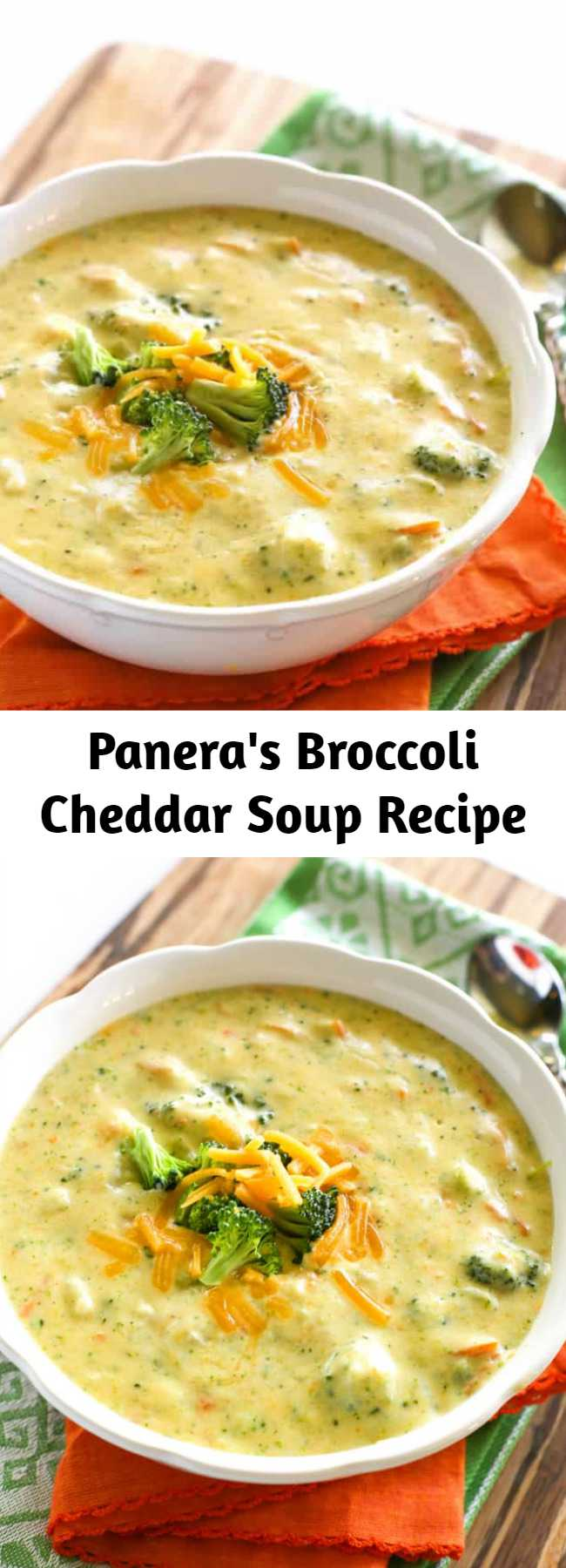 Panera's Broccoli Cheddar Soup Recipe - Creamy broccoli cheddar soup is comfort food at its best and this Panera's Broccoli Cheddar Soup is an easy dinner that hits the spot.