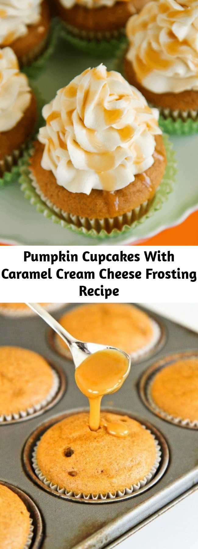 Pumpkin Cupcakes With Caramel Cream Cheese Frosting Recipe - A delicious blend of pumpkin, caramel and cream cheese, these pumpkin cupcakes are a perfect fall dessert. If you love pumpkin, put these on your baking list. They are DELISH!