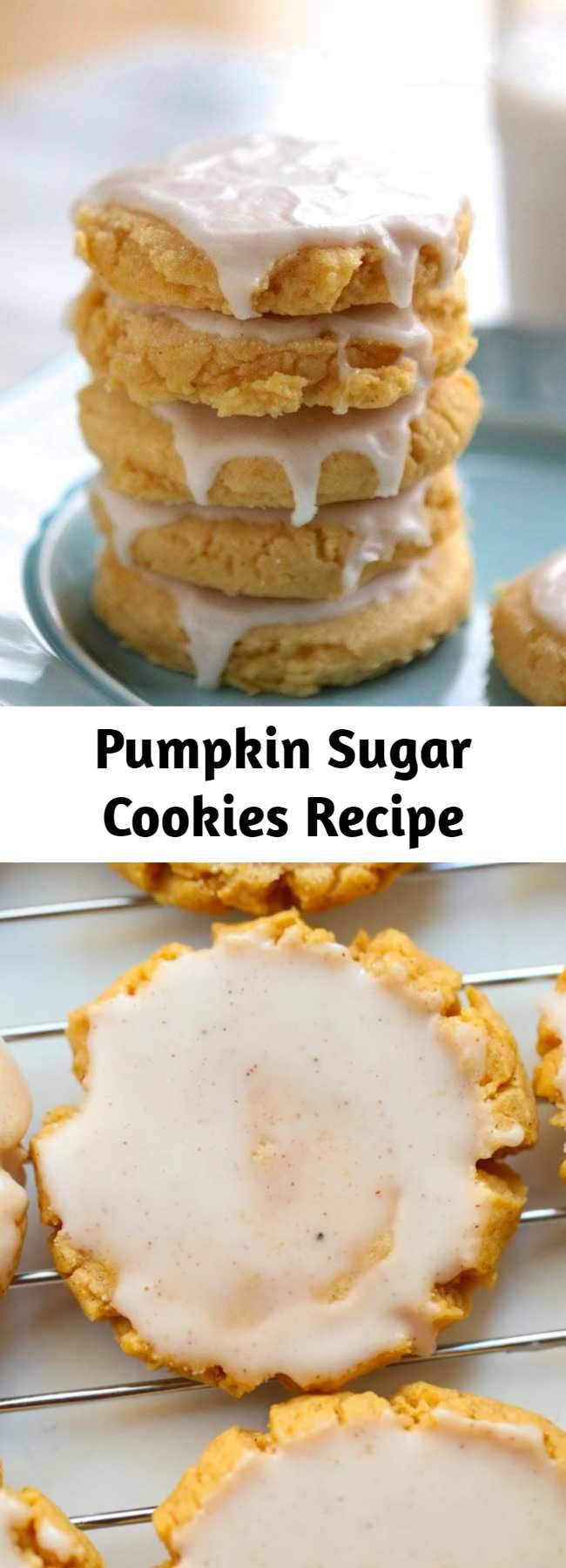 Pumpkin Sugar Cookies Recipe - Sugar Cookies just got better with a little pumpkin! This recipe creates soft, chewy, lightly spicy glazed pumpkin sugar cookies that are perfect for Fall!
