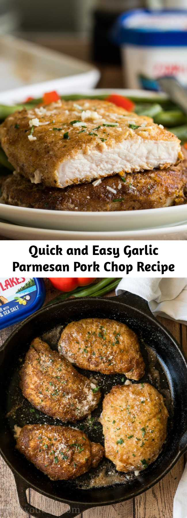 Quick and Easy Garlic Parmesan Pork Chop Recipe - This Garlic Parmesan Pork Chop Recipe is super quick and easy to make with a crispy Parmesan crust on the outside.
