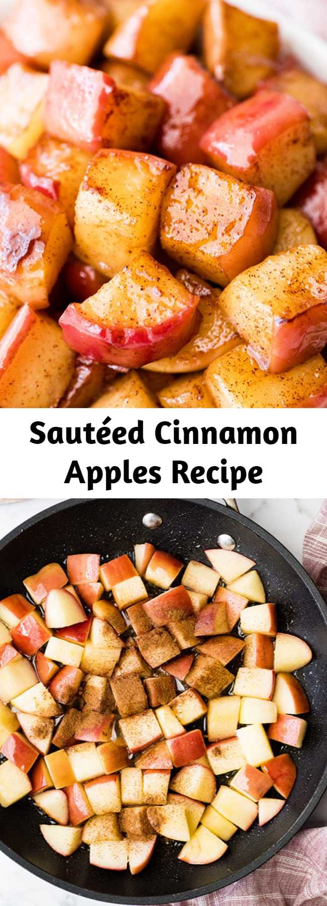 Sautéed Cinnamon Apples Recipe - These Stovetop Sautéed Cinnamon Apples taste like a warm apple pie, but they come together in 5 minutes and are SO much healthier! This recipe makes a perfect for breakfast, a snack, or dessert and is gluten, dairy and refined sugar free!