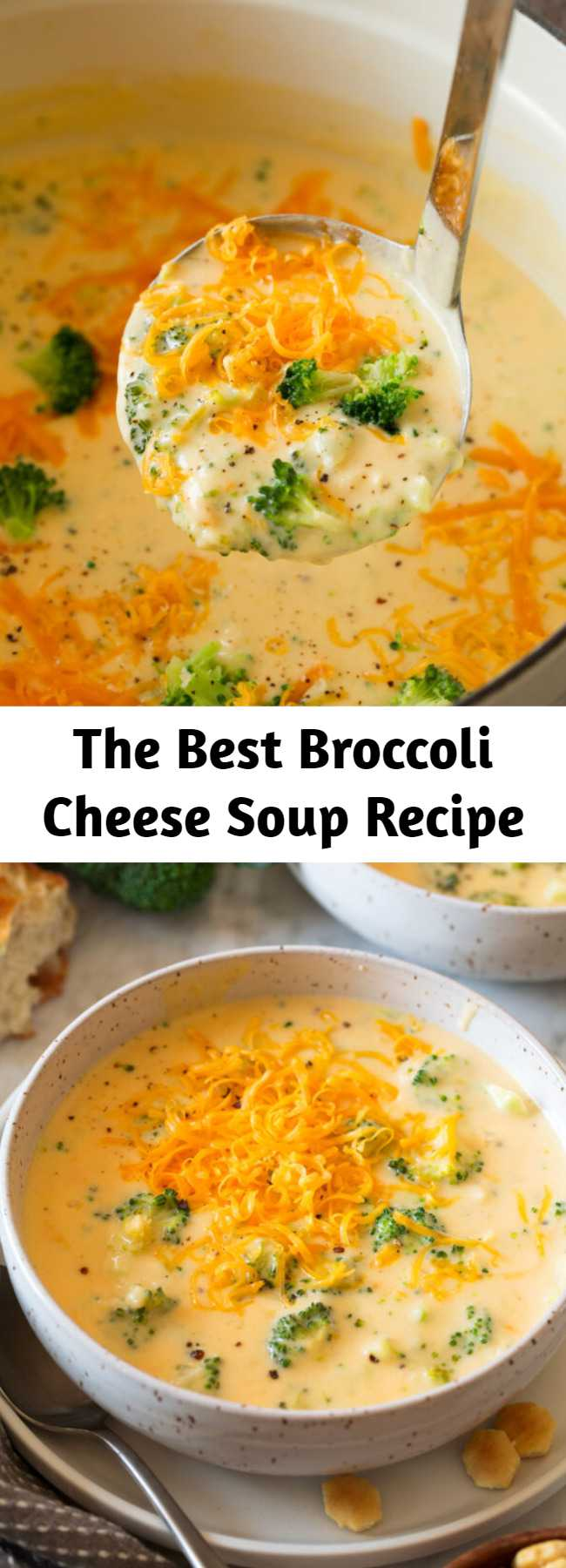 The Best Broccoli Cheese Soup Recipe - Truly the BEST Broccoli Cheese Soup! It's perfectly cheesy, hearty, rich, creamy, and it's super easy to make! Pair it with fresh bread for a delicious cozy dinner. Makes about 8 cups.