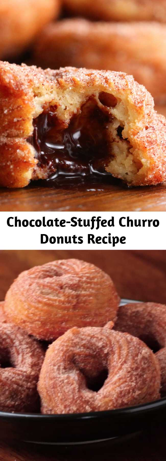 Chocolate-Stuffed Churro Donuts Recipe - This is a super cool recipe. Super fun and delicious 😋