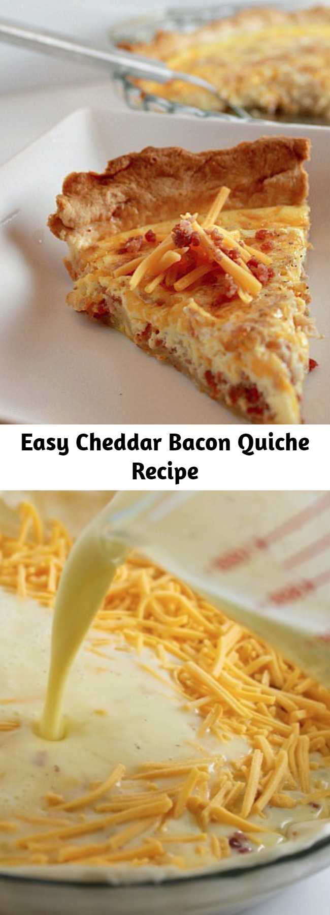 Easy Cheddar Bacon Quiche Recipe - This Cheddar Bacon Quiche recipe comes together quickly. It's very flexible allowing you to use what ever ingredients you have on hand.