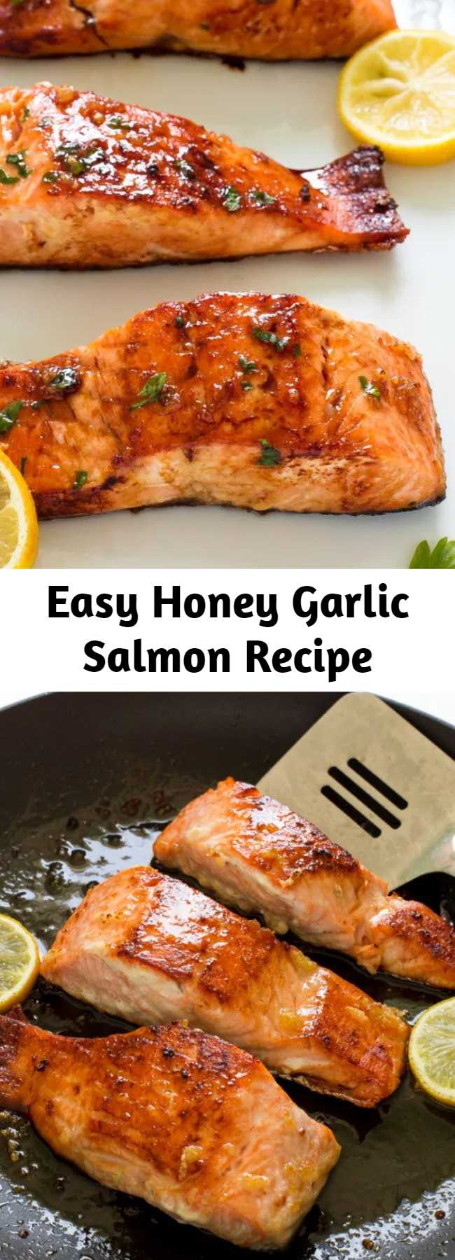 Easy Honey Garlic Salmon Recipe - Easy Honey Garlic Salmon. Pan fried and served with a sweet and sticky honey lemon glaze. Only 5 ingredients and ready in less than 20 minutes! This salmon is perfect for busy weeknight dinners! #recipe #honey #garlic #glazed #salmon #seafood