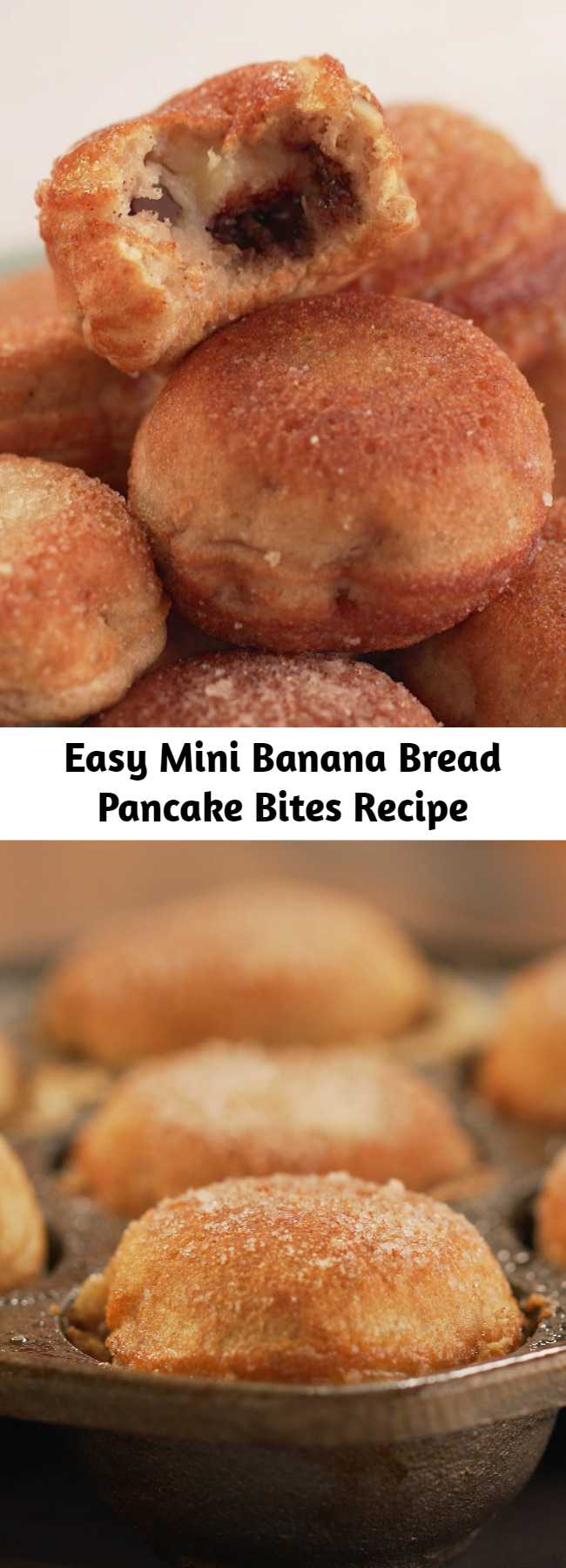 Easy Mini Banana Bread Pancake Bites Recipe - These light and fluffy bites are the perfect melding of two of your favorite comfort foods. Whether you enjoy them for breakfast or as a snack, they're sure to be your new favorite!