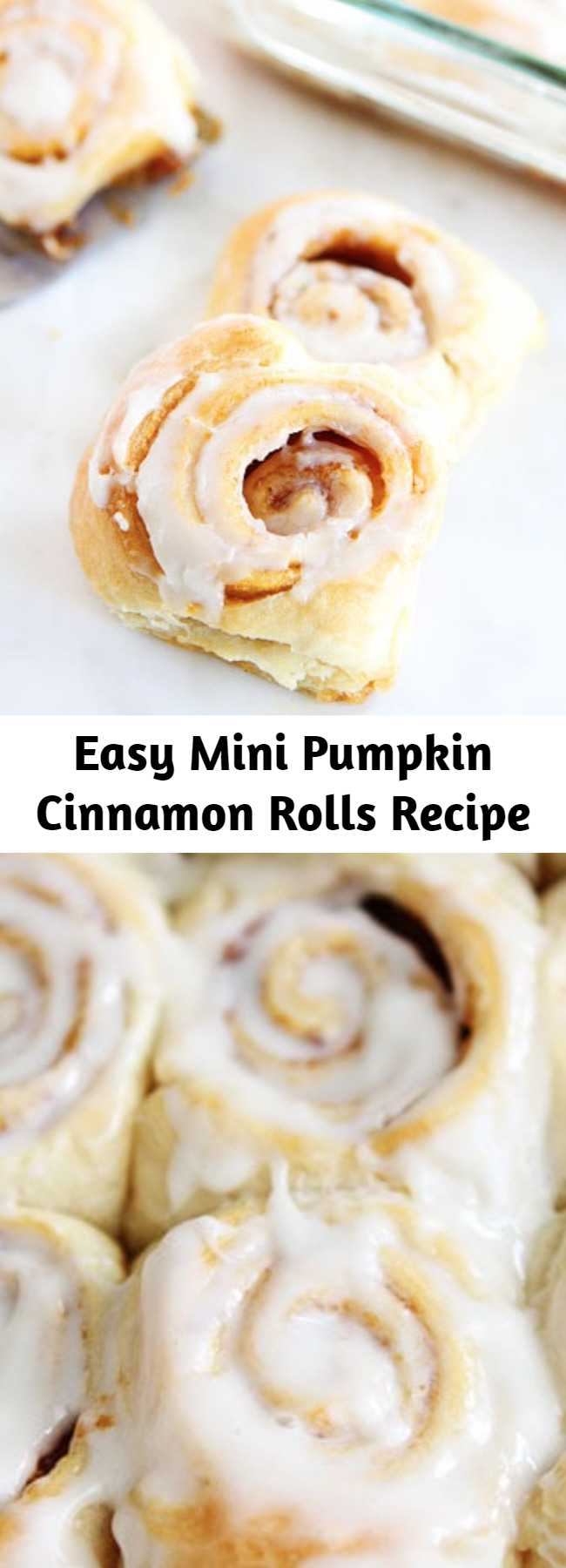 Easy Mini Pumpkin Cinnamon Rolls Recipe - Mini cinnamon rolls made with pumpkin butter and cream cheese frosting! The best part? They take less than 30 minutes to make!