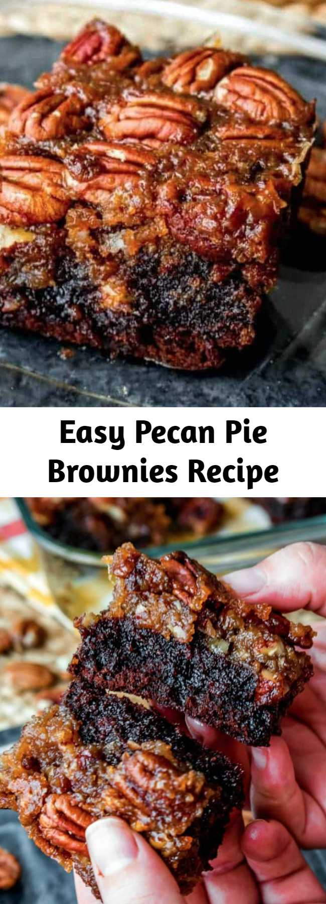 Easy Pecan Pie Brownies Recipe - These Pecan Pie Brownies are a chocolaty twist on the traditional pecan pie! They make a great Thanksgiving dessert but I like making them all year long!