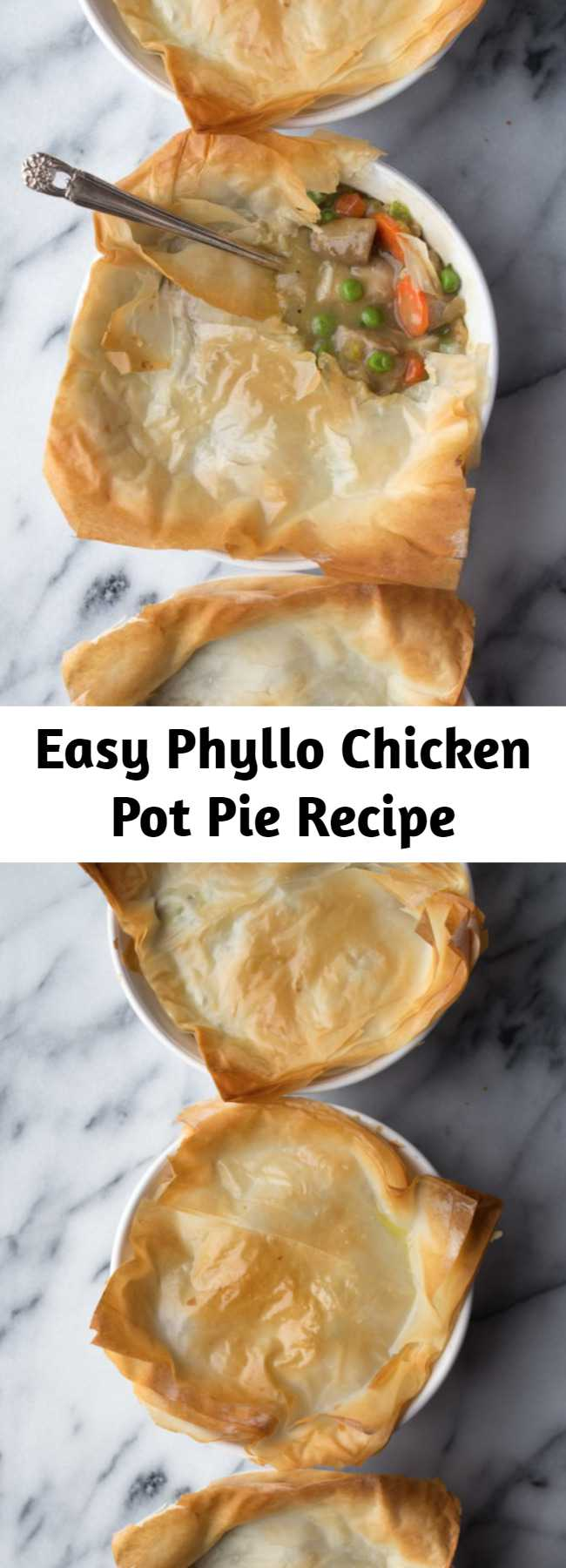 Easy Phyllo Chicken Pot Pie Recipe - Save a ton of calories and fat by using phyllo and this simple recipe for Phyllo Chicken Pot Pie! So easy and incredibly delicious!